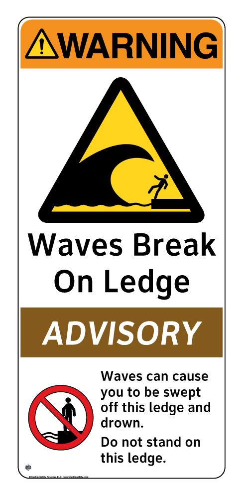 Waves Break on Ledge