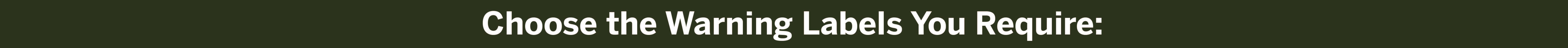 Warning Label Catgories