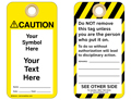 Custom Caution Tag Symbol and Text