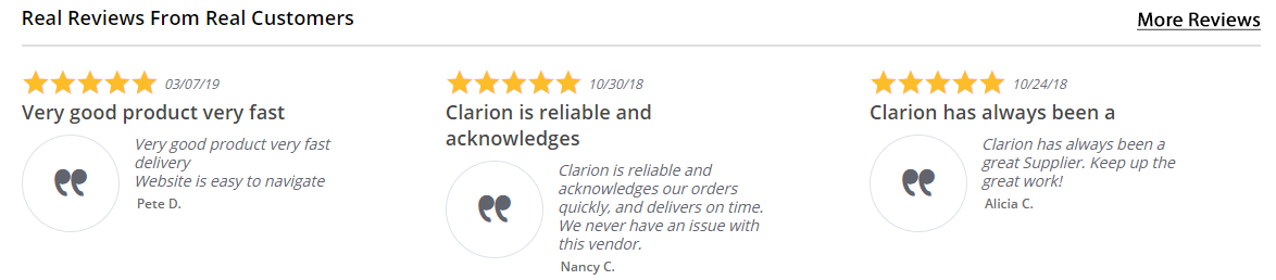 Clarion Site Reviews